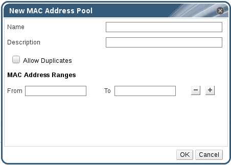 MAC アドレスプールの新規作成ウィンドウ