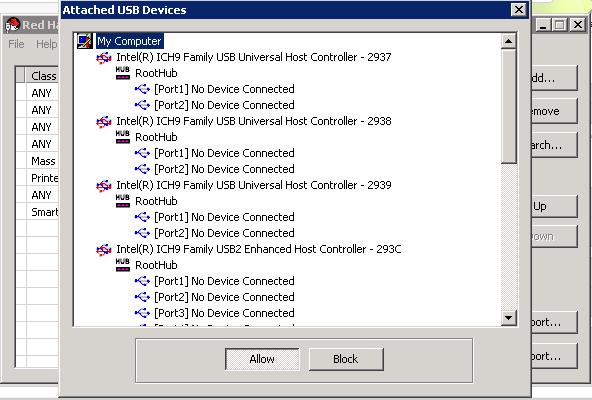 アタッチされた USB デバイス