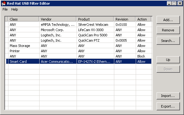 USB ポリシーの選択