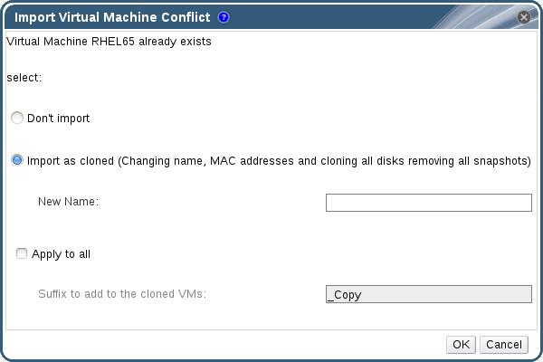 Import Virtual Machine Conflict Window