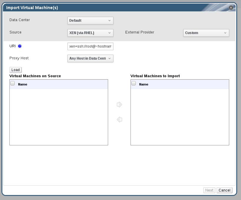 The Import Virtual Machine(s) Window