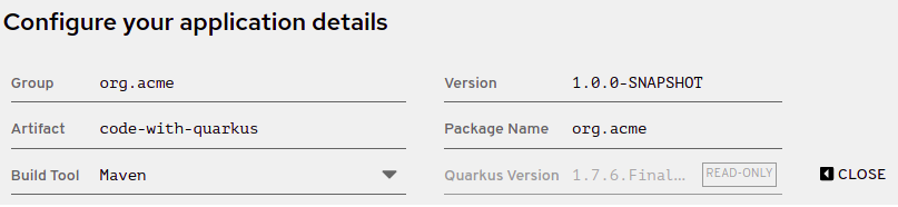 Screenshot of the application details section on the code.quarkus.redhat.com site showing the extended form with additional application details