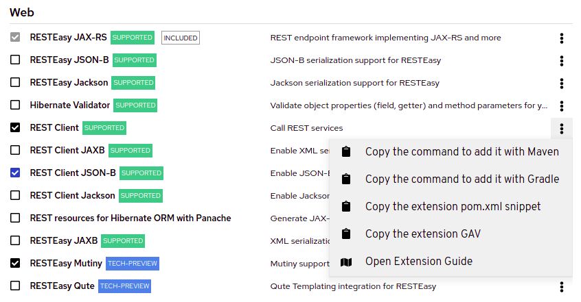 Screenshot of an expanded overflow menu next to one of the extensions on code.quarkus.redhat.coim showing the custom commands that you can copy