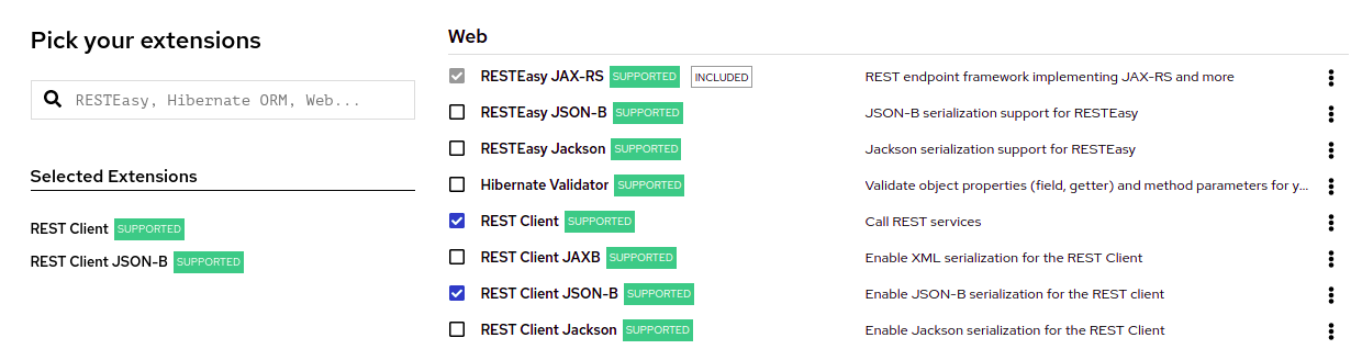 Screenshot of the list of extensions at the code.quarkus.redhat.com site that you can add to your project