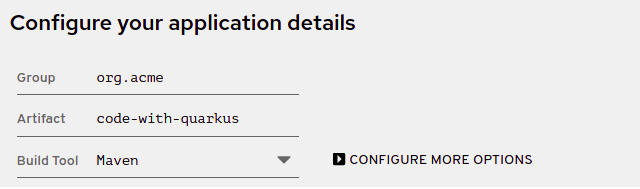 Screenshot of the basic application details section on the code.quarkus.redhat.com site