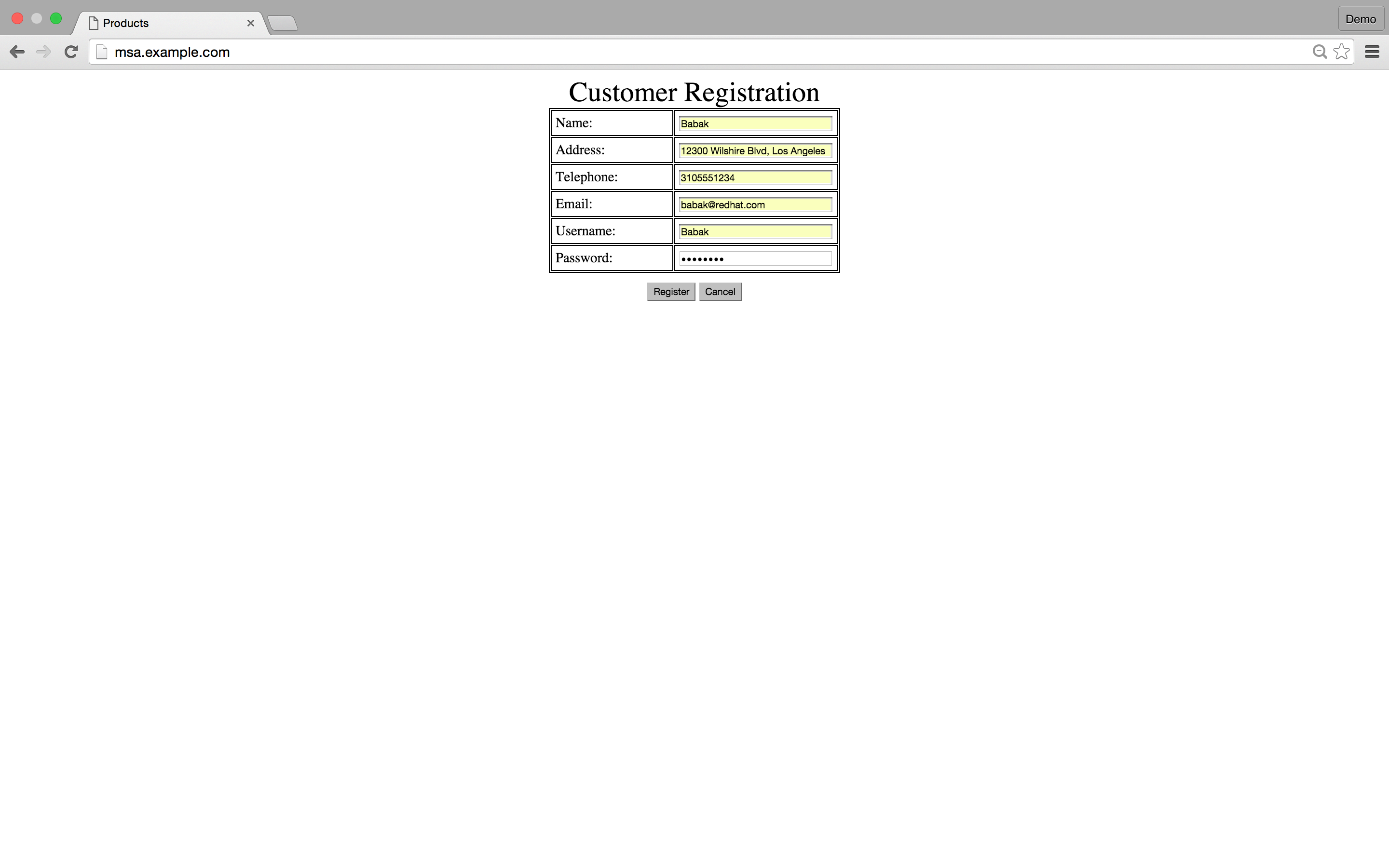 Conners sales group red hat project - Customer Registration Form
