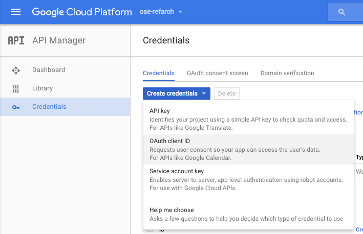 Gce Oauth New Cred Select