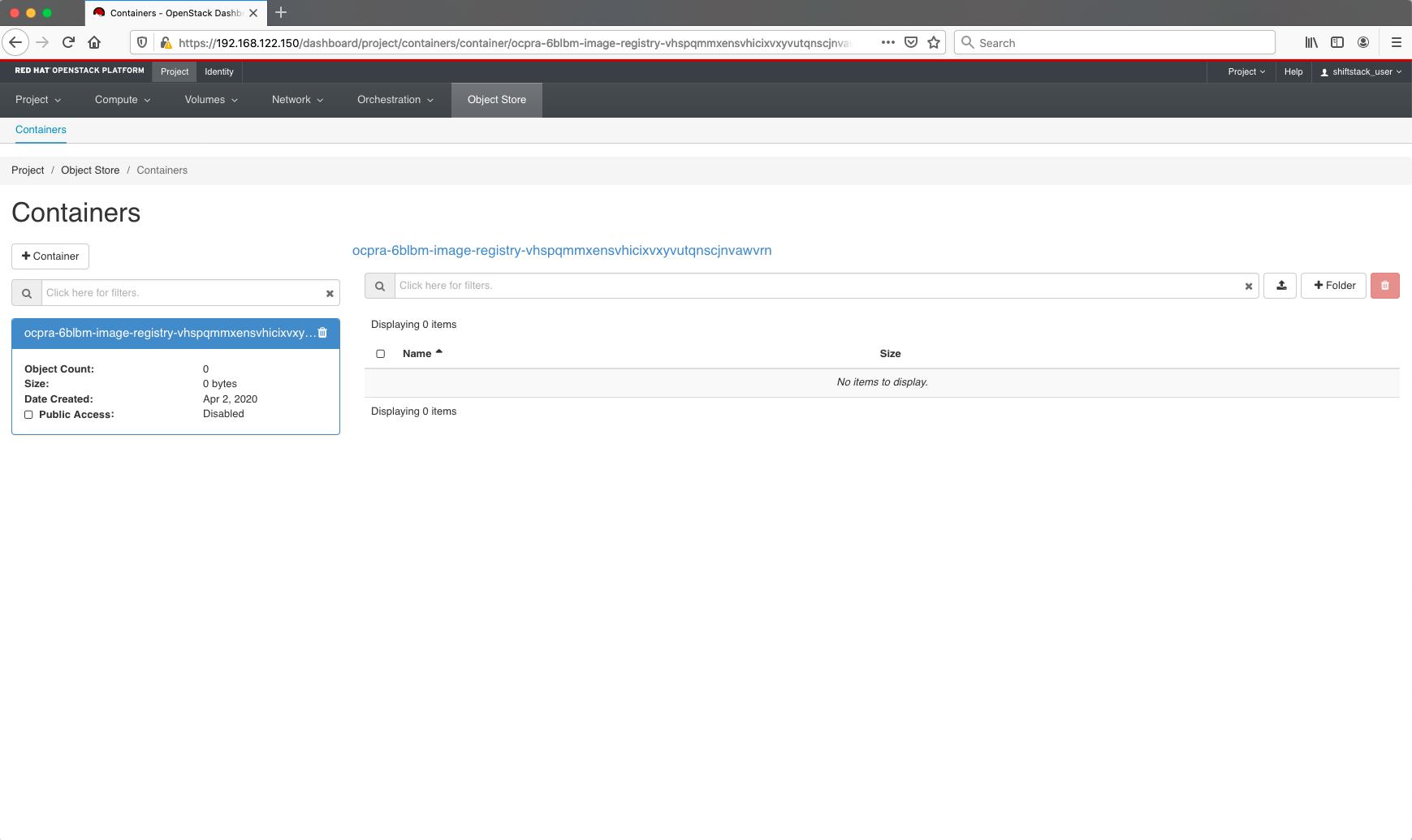 Object storage registry