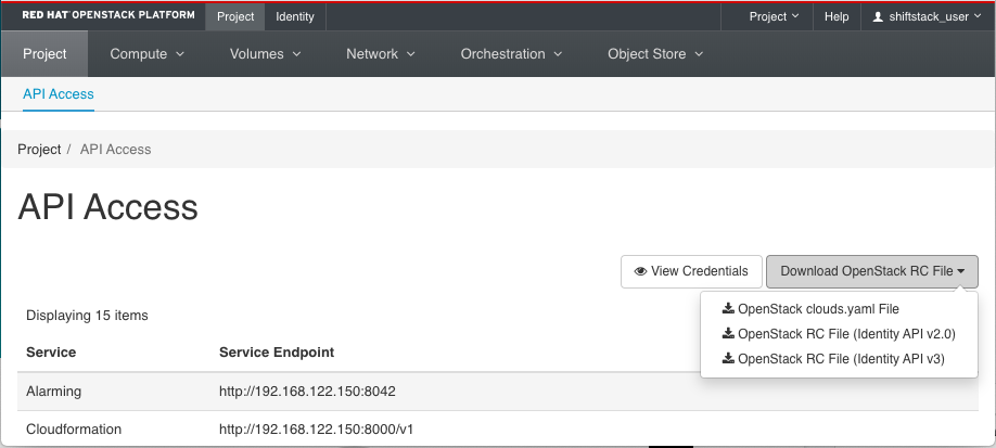 Downloading files from OpenStack Dashboard