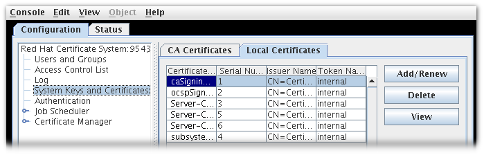 Certificate Database Tab